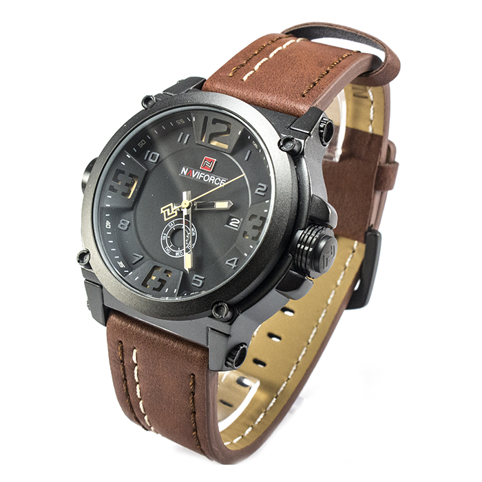 Часы Naviforce 9099BBRB Black Brown Band + Коробочка