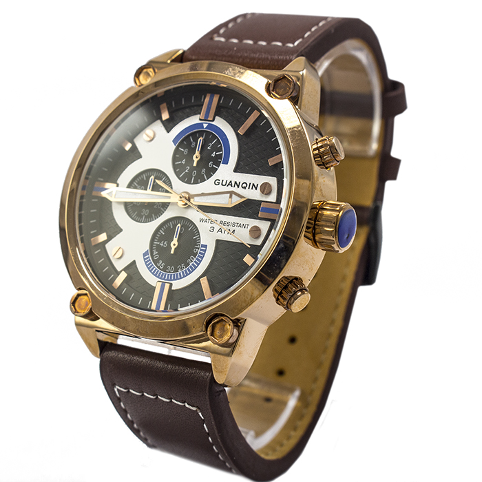 Часы Guanqin GS19088 Leather Brown Gold White