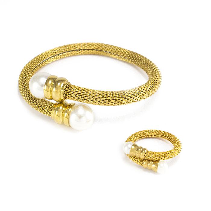 Браслет + кольцо с золотистые с бусинами на концах Арт. BS097SL