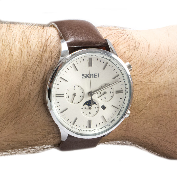 Часы Skmei 9117BRWB White Brown Band + Коробочка