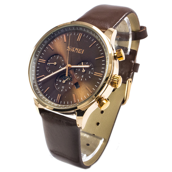 Часы Skmei 9117 Brown Brown Band