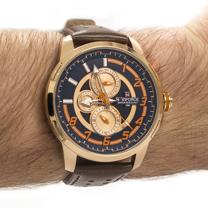 Часы Naviforce 9142GBBB Gold Blue Brown Band